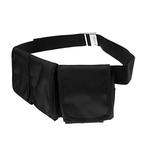 MagiDeal Tauchgewichte Gürtel Bleigürtel Tauchgürtel mit Taschen, Schwarz mit Edelstahl Gürtelschnalle, verstellbar - 3 Taschen