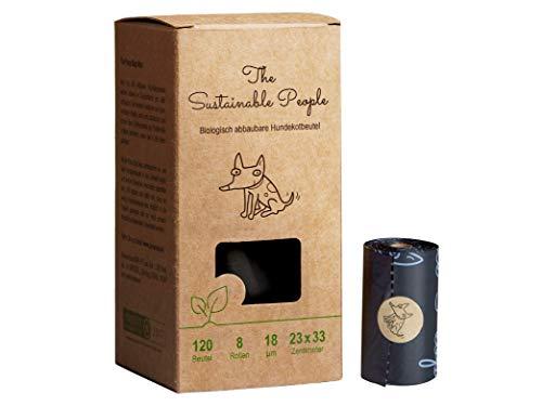 TSP Bio-abbaubare Hundekotbeutel Premium - OK compost HOME zertifiziert - 100% heim-kompostierbar und biologisch abbaubar (kein OXO!) - Gross & Extra Dick (18µm) (8 Rollen (120 Beutel)