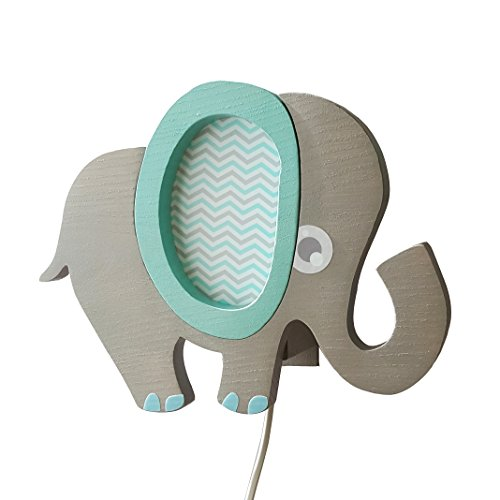 Clevere Kids Kinder Wandlampe Alle Meine Tiere Holz Handarbeit A++ (Elefant blau)