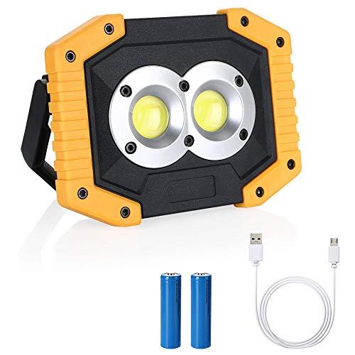 flintronic LED Arbeitsstrahler, Strahler Arbeitslampe 2X COB Baustrahler Aufladbare Arbeitsleuchte 20W &1500LM wasserdicht für Baustelle Garage Werkstatt, Eingebaute wiederaufladbare Batterien