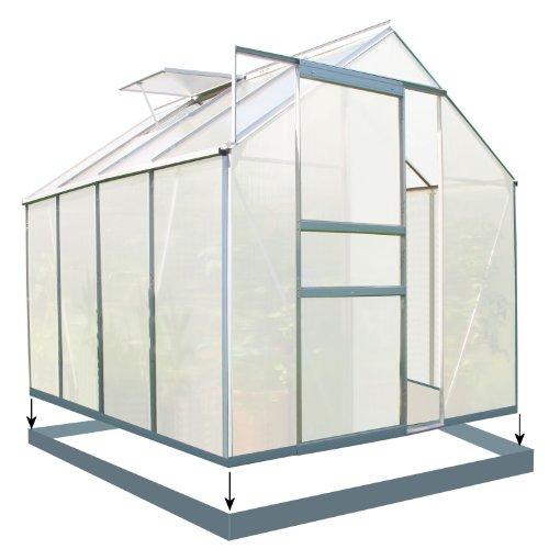 Zelsius - Aluminium Gewächshaus, Garten Treibhaus in verschiedenen Größen, mit Hohlkammerstegplatten, wahlweise mit Stahl-Fundament-Rahmen (190 x 250 cm - 6 mm Platten, mit Fundament)