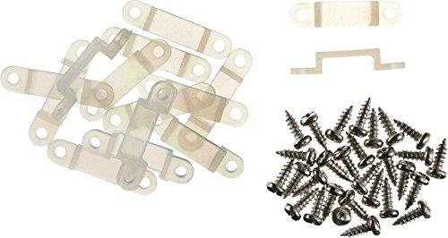 20 Befestigungsclips und 40 Schrauben - Befestigungsset 12 mm - Befestigungs-Schellen 12mm innenmaß - insgesamt 29mm lang - für 12mm breite Led Stripes - auch genannt: Silikon Halterung - Silikonschellen - Clip - Montage Brücke - Strip Schelle - Befestigungsclip - Led Clips - Stripe Clips - Befestigungs-Schellen - Befestigungslasche - Halter für LED Streifen - Befestigungsmaterial für LED Streifen - Silikonschellen - für die Befestigung von LED Flex Stripes - Clips sind anschraubbar
