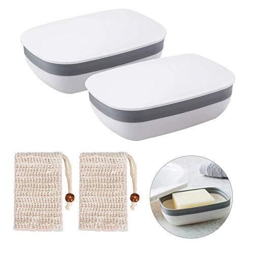 Queta Seifendose, 2 Stück Seifenschalen Box mit Abdeckung and 2 Stück Seifensäckchen Sisal für Badezimmer Reise (Weiß)