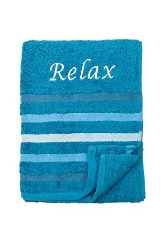 Strandtuch Saunatuch Badetuch 80x200 cm 100% Baumwolle in Verschiedene Designs, Aqua Relax