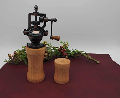 SET Gewürzmühle und Salzstreuer aus Holz Vintage Pfeffermühle Einstellbares Mahlwerk Handgedrechselt Unikat aus Eiche