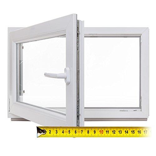 Kellerfenster - Kunststoff - Fenster - weiß - 2-fach-Verglasung - BxH: 75x50 cm - DIN links - 60mm Profil - verschiedene Maße - schneller Versand