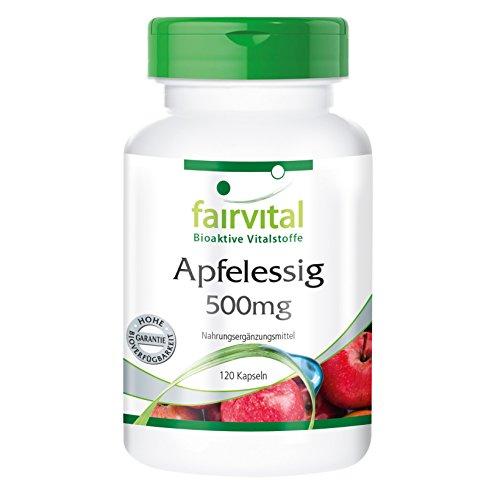Apfelessig, 500mg pro Kapsel, 2000mg Tagesdosis, vegan, natürlich, 120 Kapseln, Monatspackung - regt die Verdauung und Fettverbrennung an, für ein gutes Immunsystem, Detox-Tipp