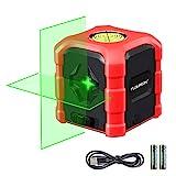 Kreuzlinienlaser Selbstnivellierend 30M Linienlaser mit Grün Laserstrahl Wasserwaage 2 AA Batterien Ladekabel IP54 Staub und Spritzwasserschutz Rot