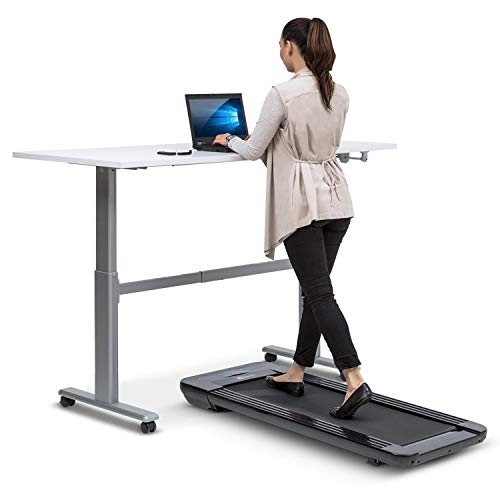 Klarfit Workspace Go Light Laufband • Tischlaufband • Office Cardio • 350 Watt • Ultraflach • Slow Running 0,8-6 km/h • nur 25 kg • Fernbedienung • 36 x 100 cm Lauffläche • Anti-Rutsch-Oberfläche