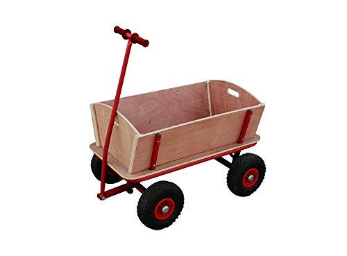 Bollerwagen mit Tragkraft 100 kg, Holz-Seitenwände und Boden, Metallrahmen mit Pulverbeschichtung, Transportwagen, Handwagen aus Holz, 10 Zoll Gummi-Reifen, Izzy Sport