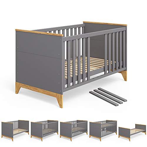 Vicco Babybett Malia Kinderbett Umbaubett Jugendbett Bett für Kinder Kleinkinder und Babys 140x70cm (Anthrazit)