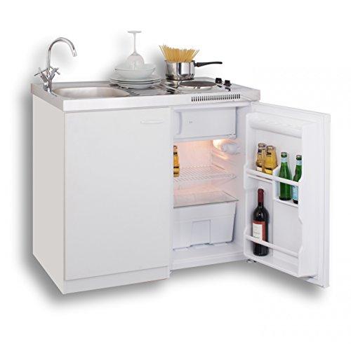 MEBASA MK0001 Pantryküche, Miniküche 100 cm Weiß mit Duokochfeld und Kühlschrank