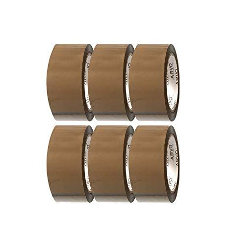 Klebeband braun- Packband - Paketband - Paketklebeband - Leise abrollend -6 Rollen | 60 m x 48 mm - BRAUN