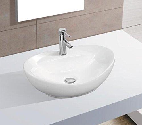 Keramikwaschbecken klein oval weiß Aufsatz Waschbecken Keramik 40,5 x 33x14,5 cm