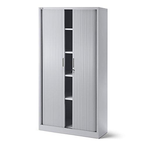 Rollladenschrank T001, Jalousieschrank, Aktenschrank, Büroschrank, Universalschrank, Querrolladenschrank, Rolltür, abschließbar 185 cm x 90 cm x 45 cm (grau/grau)