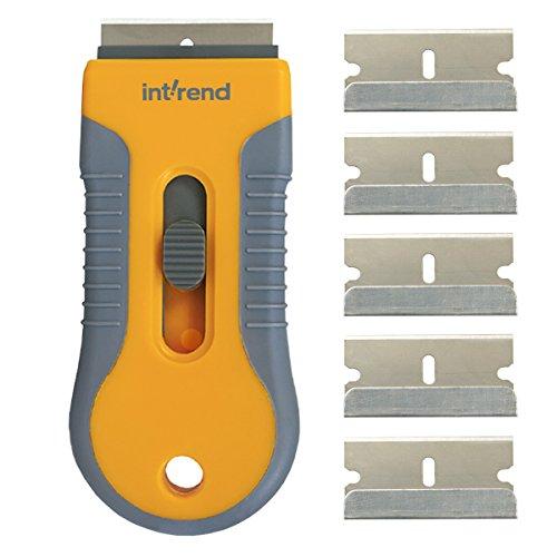 int!rend Premium Ceranfeldschaber mit 6 Klingen - verbesserte Schutzfunktion zur sicheren und einfachen Reinigung von Cerankochfeld | Version 2018