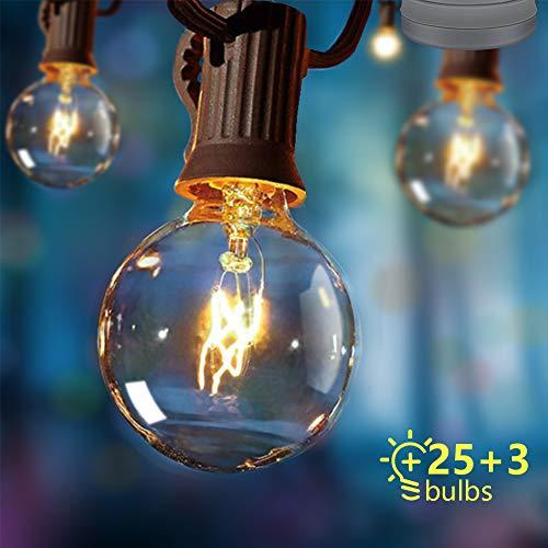 Opard Lichterkette Außen Lichterkette Glühbirnen G40 7.5M 28er Glühbirnen Lichterkette Außen Warmweiß Garten Lichterketten Außen Innenbeleuchtung Deko Licht mit Stecker für Garten, Hochzeit, Zimmer