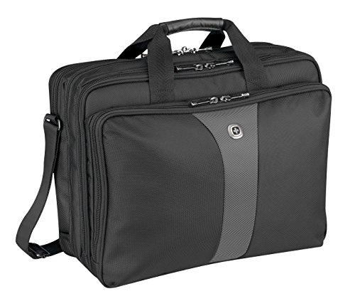 Wenger 600655 LEGACY 17' Triple-Gusset Laptop-Tasche, Flughafen freundlich mit iPad / Tablet / eReader Tasche in Schwarz / Grau {19 Liter}
