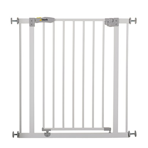 Hauck 597026 Open N Stop Treppen- / Tür- schutzgitter für Kinder, Hunde und Katzen, Befestigung ohne Bohren, zum Klemmen, mit Tür, verstellbar und erweiterbar bis 123 cm, 75-81 cm, weiß/grau