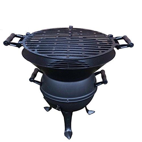 Grillfass / robuster Holzkohlegrill aus Gusseisen und Stahl mit extra großer Grillfläche