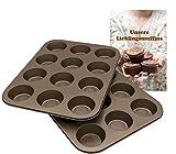 12er Muffinform – hochwertiger Karbonstahl – Antihaftbeschichtung – praktisches 2er Set – ideal für Muffins, Cupcakes und weitere Köstlichkeiten