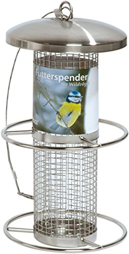 dobar 10041 Futterspender für Vögel mit Edelstahlgitter, Futterstation-Futtersäule für Wildvögel Anflugsringen, 14 x 14 x 26 cm, metall