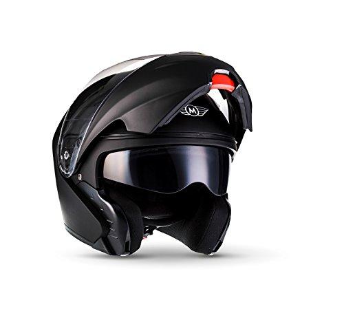 MOTO F19 Matt Black · Motorrad-Helm Roller-Helm Helmet Scooter-Helm Flip-Up-Helm Sturz-Helm Integral-Helm Cruiser Klapp-Helm Modular-Helm · ECE zertifiziert · zwei Visiere · inkl. Stofftragetasche · Schwarz · M (57-58cm)