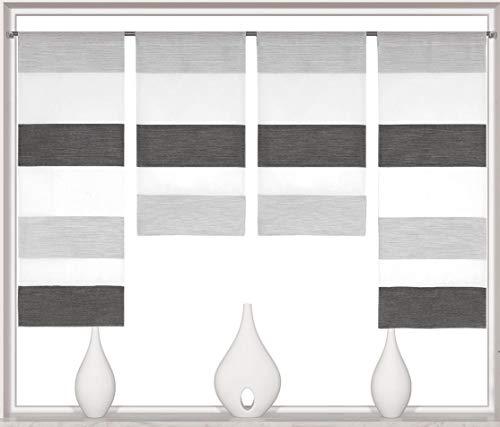 Decocompany Home Design Mini Flächenvorhang Set anthrazit 2291 | 4 Teile | Scheibengardine Gesamtbreite 120cm (4x30cm) Höhe 80/60/60/80cm