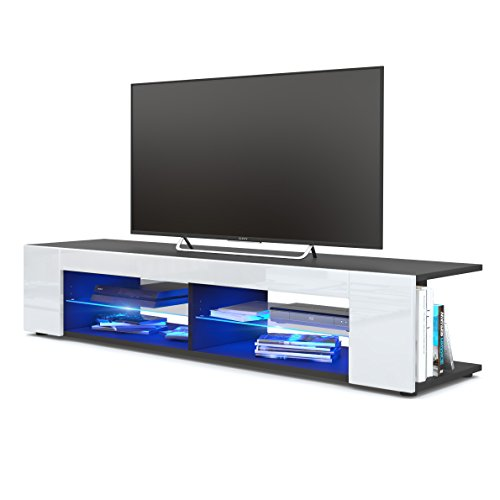 TV Board Lowboard Movie, Korpus in Schwarz matt / Fronten in Weiß Hochglanz inkl. LED Beleuchtung in Blau