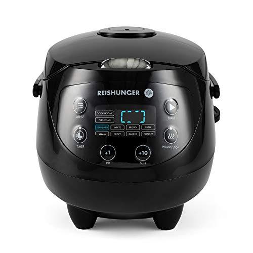 Digitaler Reishunger Mini Reiskocher (0,6l/350W/220V) Multikocher mit 8 Programmen, Schwarz, 7-Phasen-Technologie, Premium-Innentopf, Timer- und Warmhaltefunktion - Reis für bis zu 3 Personen