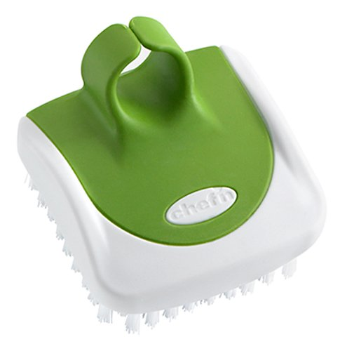 Chef'n Gemüsebürste PalmBrush, Handbürste für die leichte Reinigung von Gemüse (Farbe: grün, orange, lila - nicht frei wählbar), Menge: 1 Stück