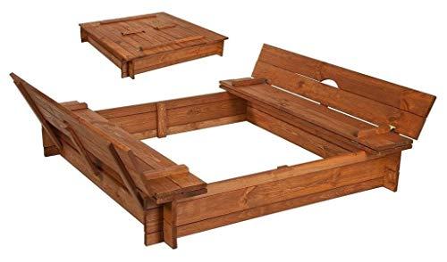 Best-of-JAM Sandkasten - 140x140 cm - Deckel umbaubar zu Bänken - inkl. Folie gegen Unkraut