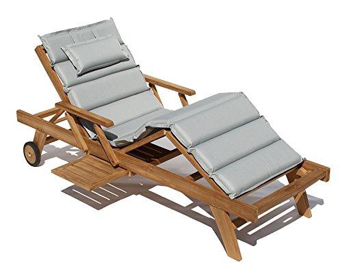 Teak Holz Liege Gartenliege Sonnenliege + Auflage Hellgrau11 Taupe