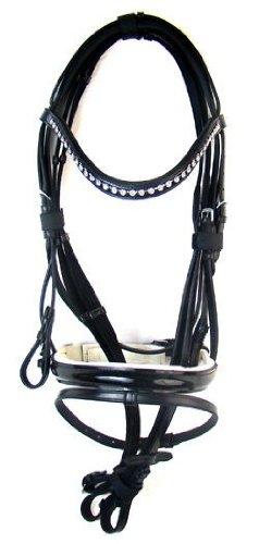 Hochwertige Trense AMBER aus Leder Schwarz Neu incl. Zügel, Größe:Warmblut
