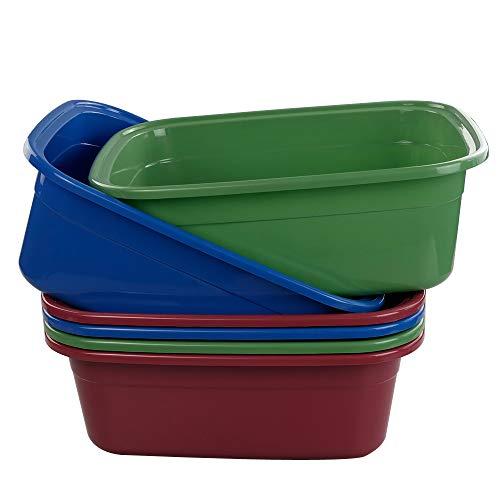 Ikando Große WC-Schüssel Plastikschüssel Spülschüssel Spuelschuessel Waschschüssel Waschbecken Spülwanne Abwaschschüssel Becken Kunststoff, Rechteckig, Weinrot, Tiefgrün, Tiefblau, 6 Pakete