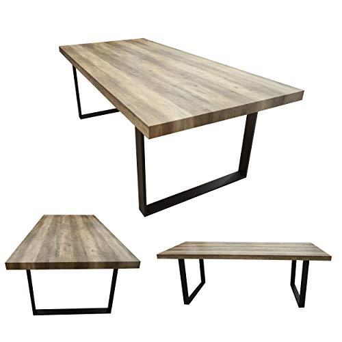 MOG Esszimmertisch Kufentisch Holztisch Kufengestell Tisch mit Tischplatte und Kufen - alle Größen und Farben (Akazie + Schwarz, 200x100cm)
