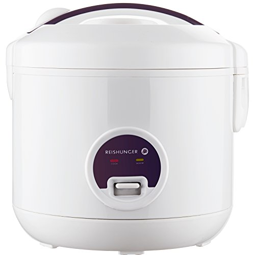 Reishunger Reiskocher mit Warmhaltefunktion, 1,2 l, 500 W, hochwertiger Innentopf mit doppelter Antihaftbeschichtung, mit Löffel und Messbecher