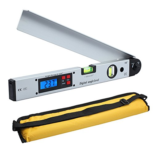 Neoteck Digitaler Winkelmesser 400mm / 16 Zoll Digital Winkelmesser mit LCD-Wasserwaage 0-225 °Digital Neigungsmesser Winkelmessgerät für vertikale horizontale Doppel-Wasserwaage