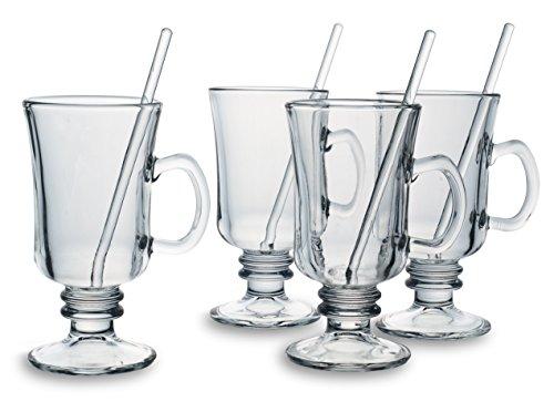Bohemia Cristal 093 006 140 Groggläser ca. 200 ml mit Rührstäbchen aus Kalk-Natron-Glas 4er Set 'Wintertime'
