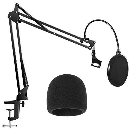 InnoGear Mikrofonständer Set mit Mikrofon Pop Filter und Schaum Mikrofon Windschutz, Mikrofon Halterung tisch für Blue Yeti, Schneeball, Blue Spark