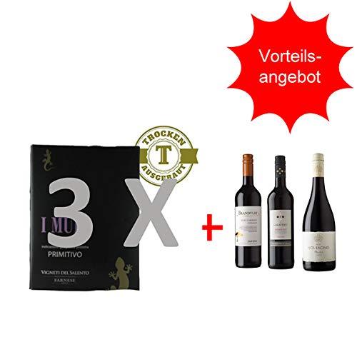 Rotwein Italien Bag in Box I Muri Puglia Primitivo (3 x 5,0L) plus Rotweinpaket (3 x 0,75L) inclusive