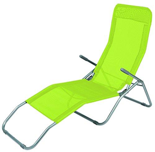 Mojawo Saunaliege Liege Sonnenliege L142xB58xH99cm Strandliege Gelbgrün Relaxliege Gartenliege Liegestuhl Kippliege