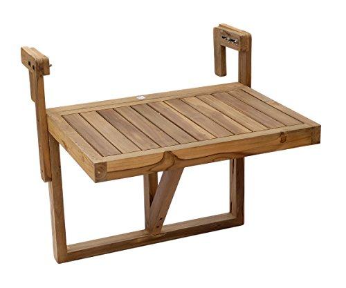 Brillibrum Design Balkonhängetisch aus Teakholz platzsparend Teak-Tisch klappbar Hängetisch robust Wetterfest 60x45 cm Klapptisch zum Anhängen an das Geländer platzsparend für Balkone