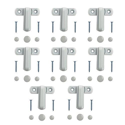 Neoteck 8pcs Fenstersicherung Sash Jammer Weiß Starke Zink-Gusslegierung Zusätzliche Fenster-Zusatzschloss Sicherheitsschlösser für verschiedene UPVC / PVC Türen und Fenster und Haus Sicherheit