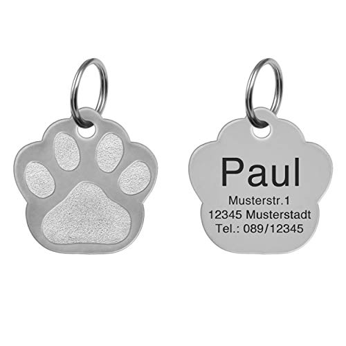 kultdog Pfote Hundemarke aus Edelstahl mit Gravur I Adressanhänger in 2 Größen erhältlich I Tiermarke für Hunde inkl. Schlüsselring - Edelstahl Standard
