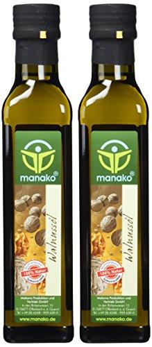 manako Walnussöl, raffiniert, 100% rein, 2 x 250 ml  Glasflasche (2 x 0,25 l)