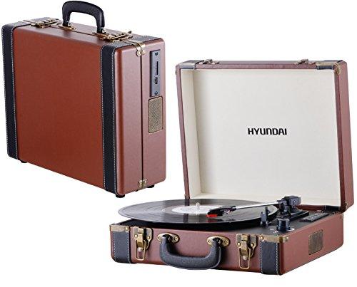 HYUNDAI HY-106PLK - Plattenspieler | Schallplattenspieler | Turntable | Holz Nostalgie AUX IN | Plattenspieler mit Koffer | Vinyl Player | USB / SD CARD | Aufnahme Funktion