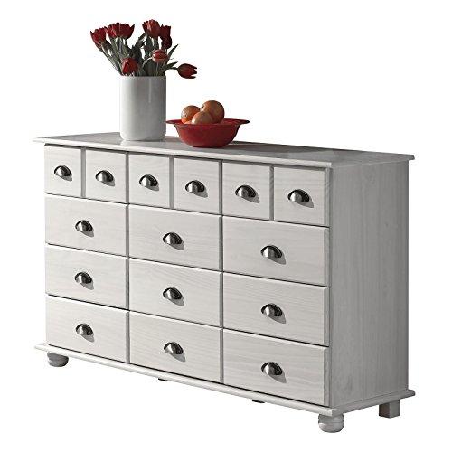 Kommode Apothekerschrank Landhauskommode Sideboard COLMAR mit 12 Schubladen, Muschelgriffe, in weiß