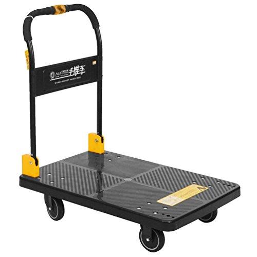 N&S Plattformwagen Heavy Duty 350KG One Hand Falten LKW Cart mit Mute Wheels Plattform-Trolley (groß)