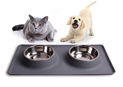 Damit's sauber bleibt: Silikon-Napfunterlage für Katzen- und Hundenäpfe, Hundenapf, Katzennapf grau